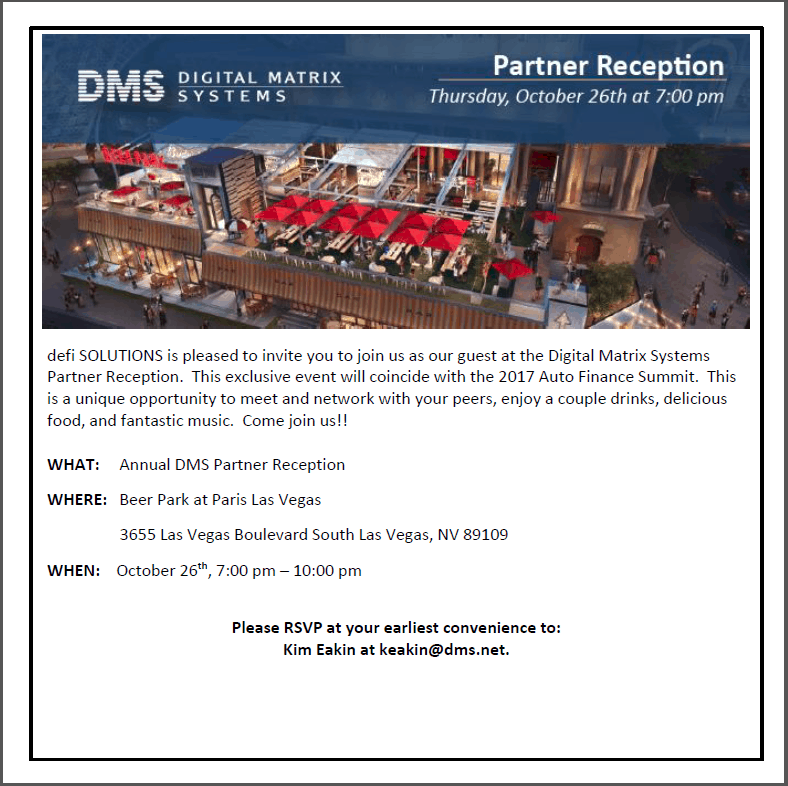 DMS Partner Reception Invitation