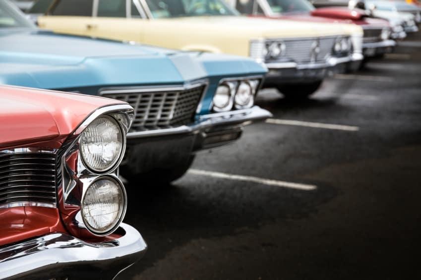 Vintage Autos on a Lot